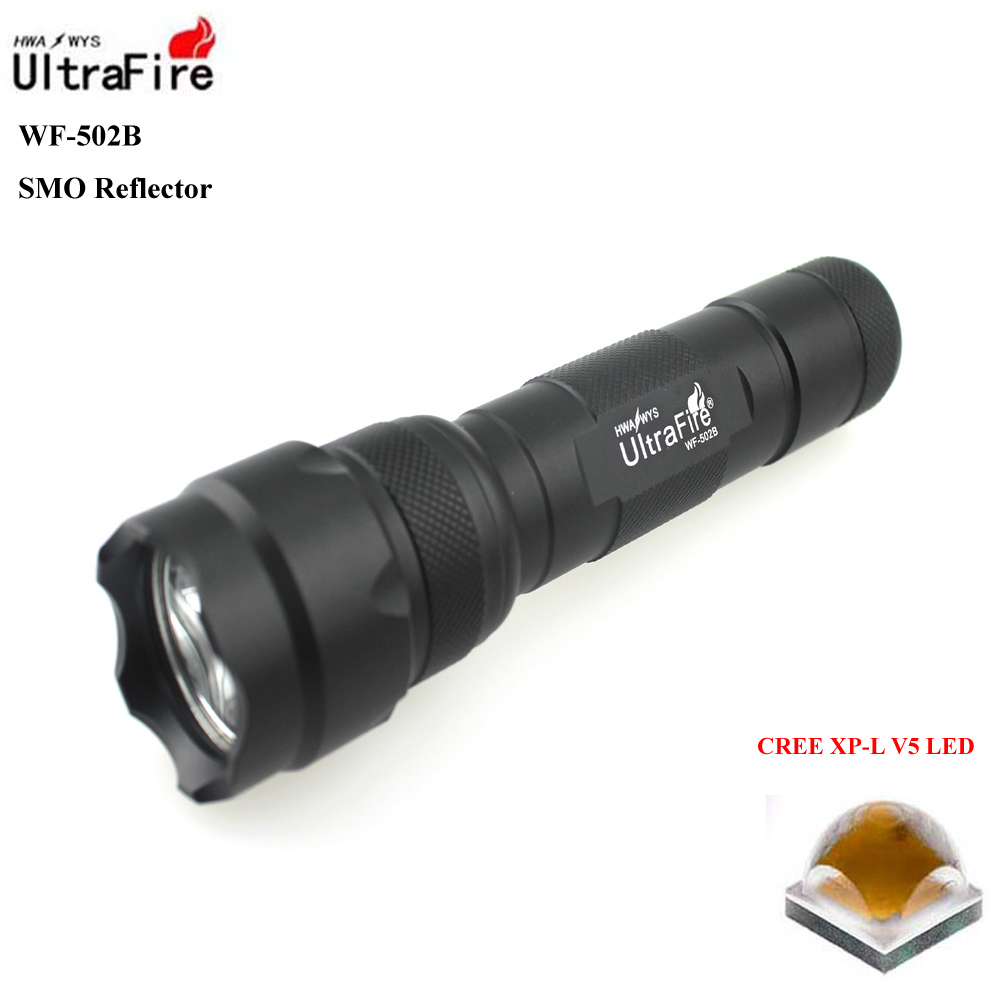 U-F WF-502B CREE XP-L V5 1800lm Cool White Light 3-Mode High>Middle>Low SMO LED Flashlight (1 x 18650) ultrafire bd0056 led 100lm 3 mode white zooming flashlight black golden 1 x 18650
