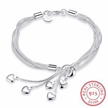 Женский многослойный браслет на цепочке элегантный из стерлингового