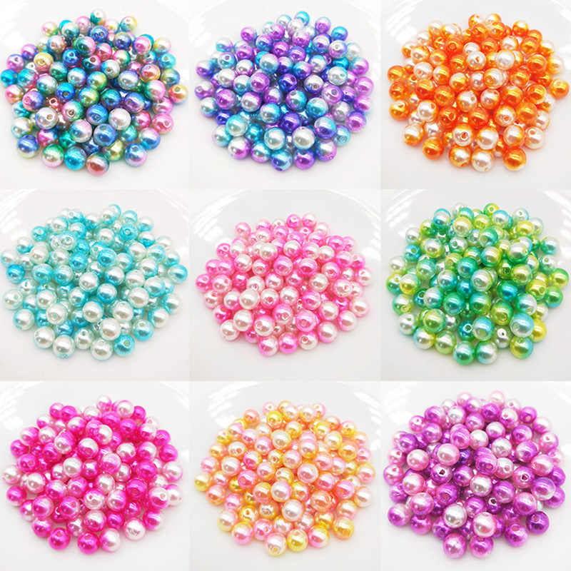 Beautiful beads 50pcs 8mm Mixed Multicolor Straight hole Acrylic Simulated-pearl Beads DIY Necklace bracelet Jewelry Accessories