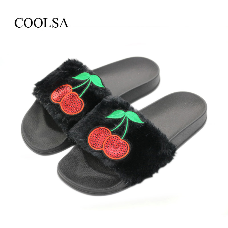 COOLSA Women's Spring Furry Slippers Red Cherry Plush Indoor Flat Slippers Women's Faux Fur Flat Bling Slippers Women's Slides flat fur women slippers 2017 fashion leisure open toe women indoor slippers fur high quality soft plush lady furry slippers
