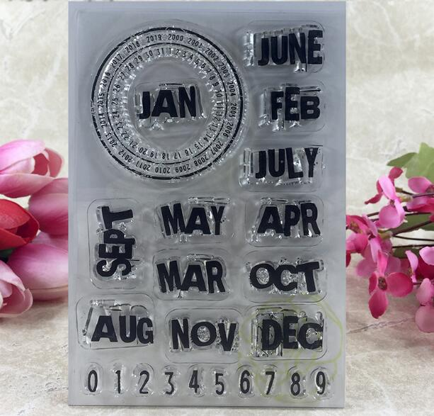 Scrapbook DIY Photo Album Card Rubber Chapter Transparent Seal month permanent calendar Clear Stamp 136 scrapbook diy photo album card rubber chapter transparent seal month permanent calendar clear stamp 136