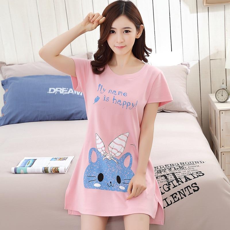 b15483f462 100 COTTON nightgown girl cute animals plus size nightgowns sleepwear  ladies night dress princess nightgown short sexy nighty-in Nightgowns    Sleepshirts ...