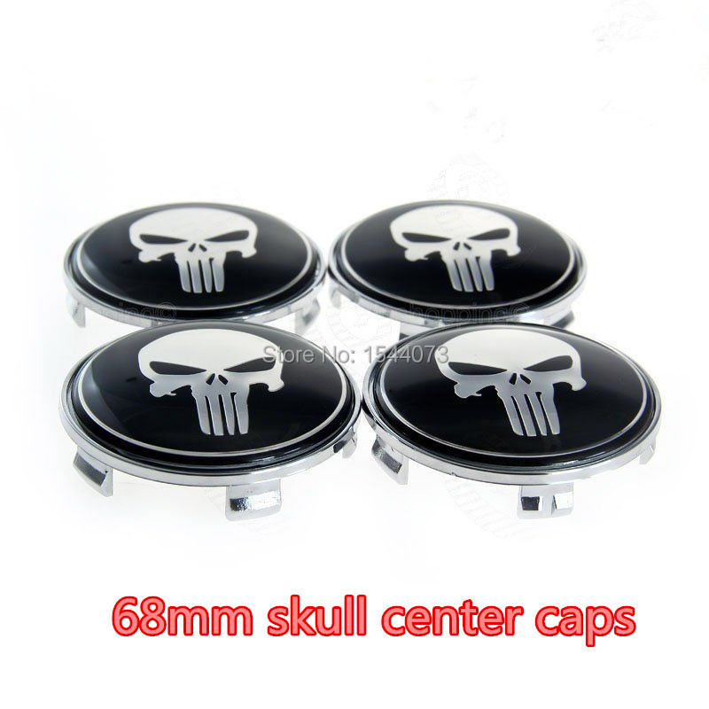 4pcs 68mm Chrome Skull Face Wheel Centre Center <font><b>Caps</b></font> Emblem For <font><b>BMW</b></font> For E81 E82 F22 E46 F82 E64 E38 E31 Auto Car <font><b>Hubs</b></font> <font><b>Caps</b></font> Badge image
