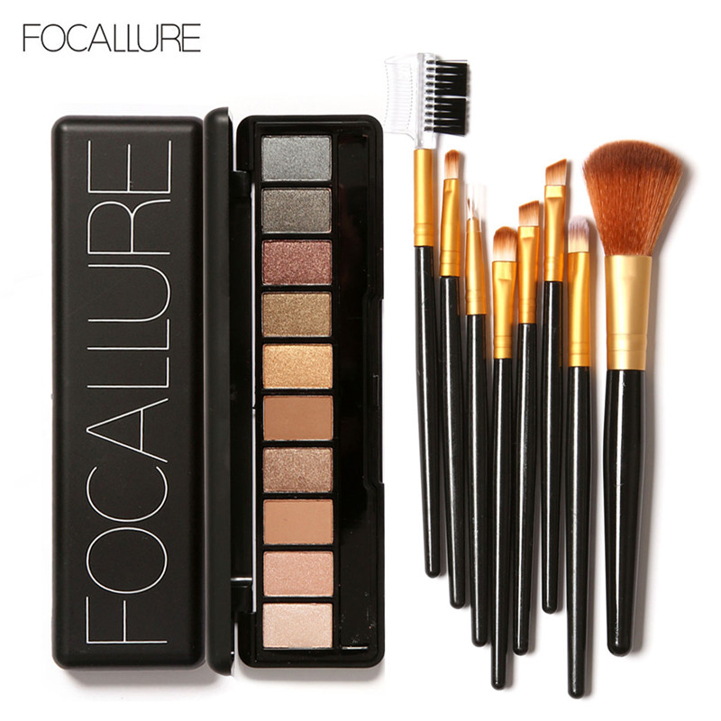 Focallure makeup set with 10 Colors Eyeshadow Contour Face Cream Makeup Palette 8PC Black Gold Brush makeup set Beauty Cosmetics
