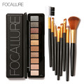 Professional 4 Colors Eyeshadow Contour Face Cream Makeup Palette 8PC Black Gold Brush cosmetic set