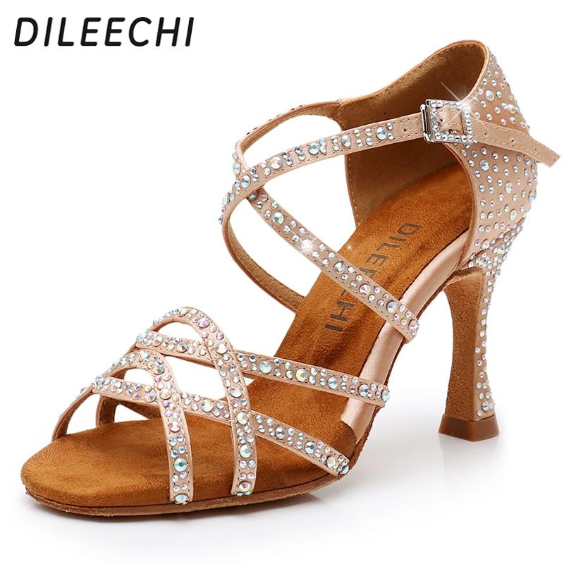 DILEECHI Latin Dance Shoes Women NEW Bronze Satin Shining Rhinestone Cuba High Heel 9cm Salsa Beige Black Ballroom Dancing Shoes