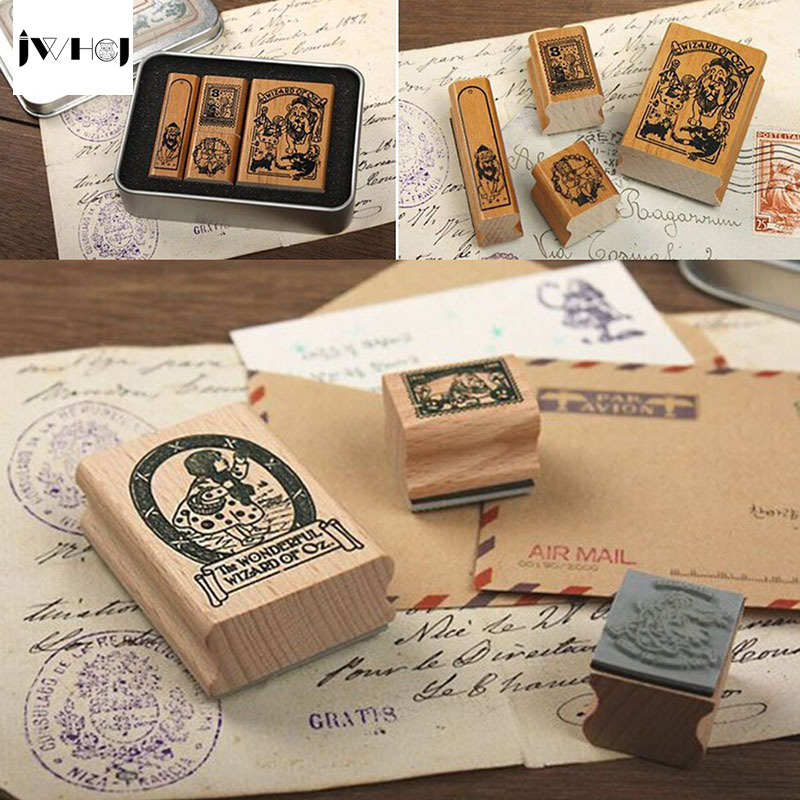 JWHCJ 4pcs/set Alice&Doris Retro tin box stamp gift Crafts Handmade decal scrapbooking students Stamps Arts Photo Album jwhcj vintage cat date wood roller stamps for children diy handmade scrapbook photo album diary book decoration students stamps