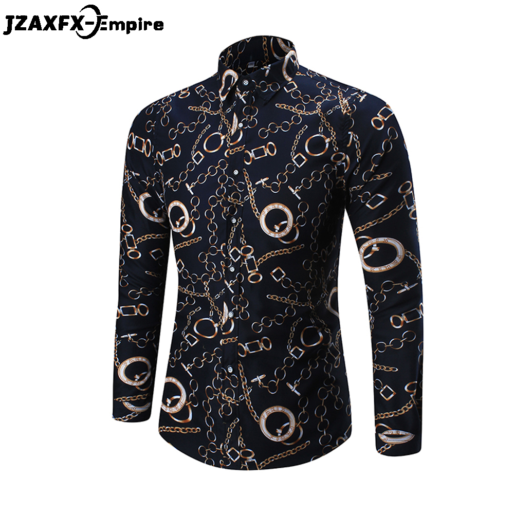 2018 Brand New Print Gold Chain Shirts Men Casual Long Sleeve Slim Shirts Camisa Masculina Male Fashion Floral Shirts