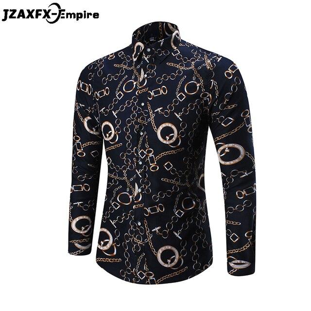 black chain printed long sleeve shirt