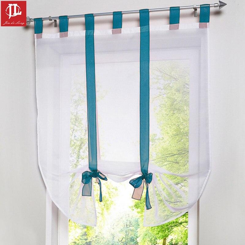 nueva llegada ventana persianas romanas cortinas cortas para cocina de caf hilo de tul cortinas