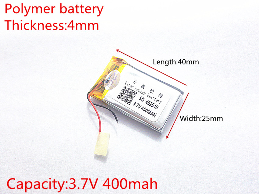 3.7V 400mAh [<font><b>402540</b></font>] PLIB ; polymer lithium ion / Li-ion battery for BLUETOOTH,GPS,mp3,mp4,smart watch,toy,speaker image