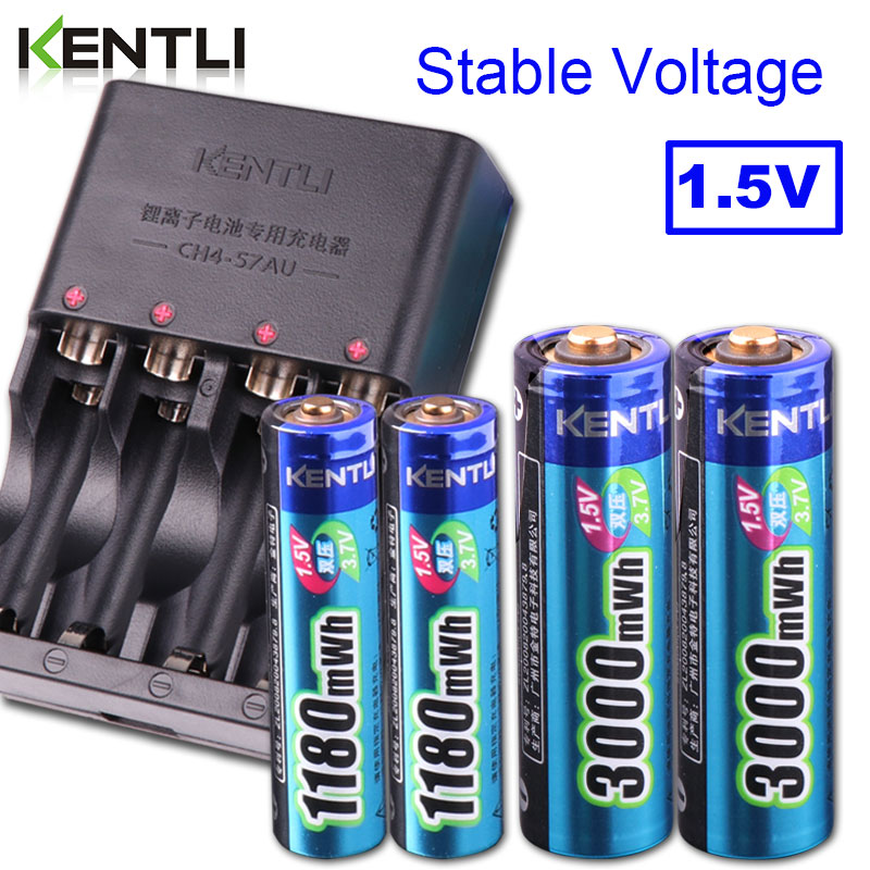 цена на KENTLI 4pcs 1.5v aa aaa batteries Rechargeable Li-ion Li-polymer Lithium battery + 2 slots AA AAA lithium li-ion Smart Charger