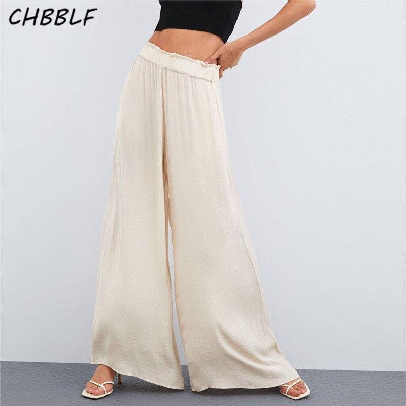 CHBBLF women elegent solid white black   wide     leg     pants   elastic waist   pant   long trousers mujer NJN1326