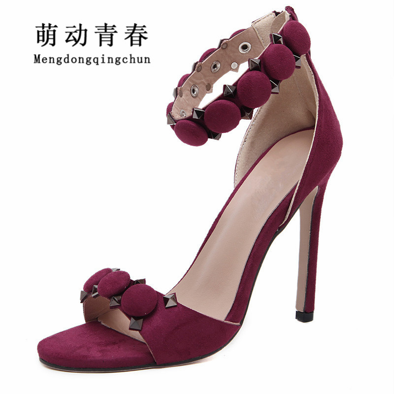 Women Pumps 2017 New Hot Suede High Heels Wedding Shoes Woman Ladies Fashion Thin Heel Zapatos Mujer Plus Size Sandals handmade fashion ladies high heels suede gladiator sandals rhinestone wedding dress shoe women pumps sandalias mujer shoes woman