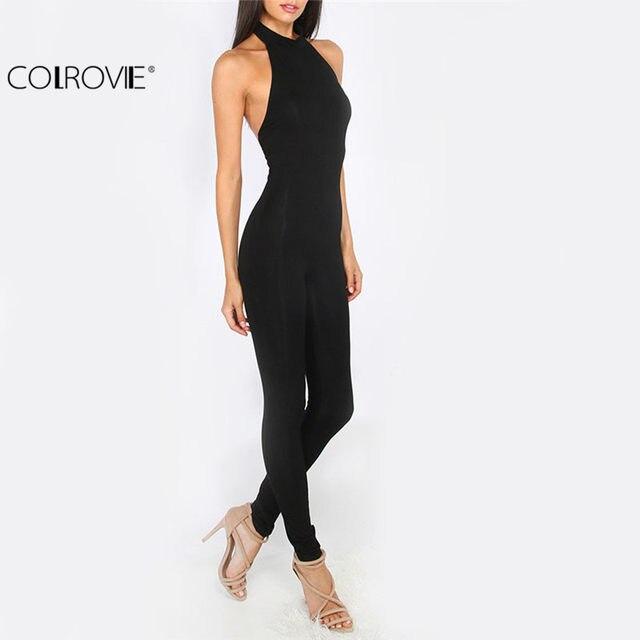 6c04b6fe8e3 Online Shop COLROVIE Women Plain Black jumpsuit Slim Backless Sexy ...
