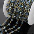 Diy 5 м тон провода завернутый темно-синий хрустального стекла грановитая Rondelle цепи, Мода розария цепи оптовая продажа ожерелье ювелирных изделий