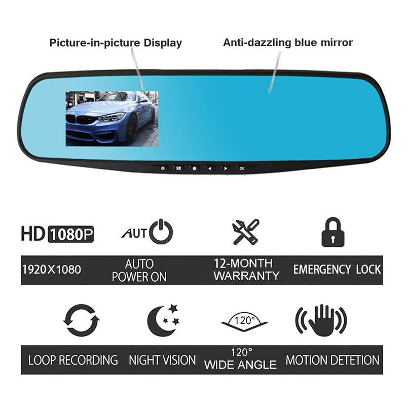 HD 1080P Rearview Dashcam Auto Recorder Video Car DVR Dash Cam 2.8