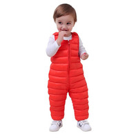 2017 Winter Children Kids Duck Down Pants Overalls For Baby Boys Girls Thick Warm Waterproof Trousers