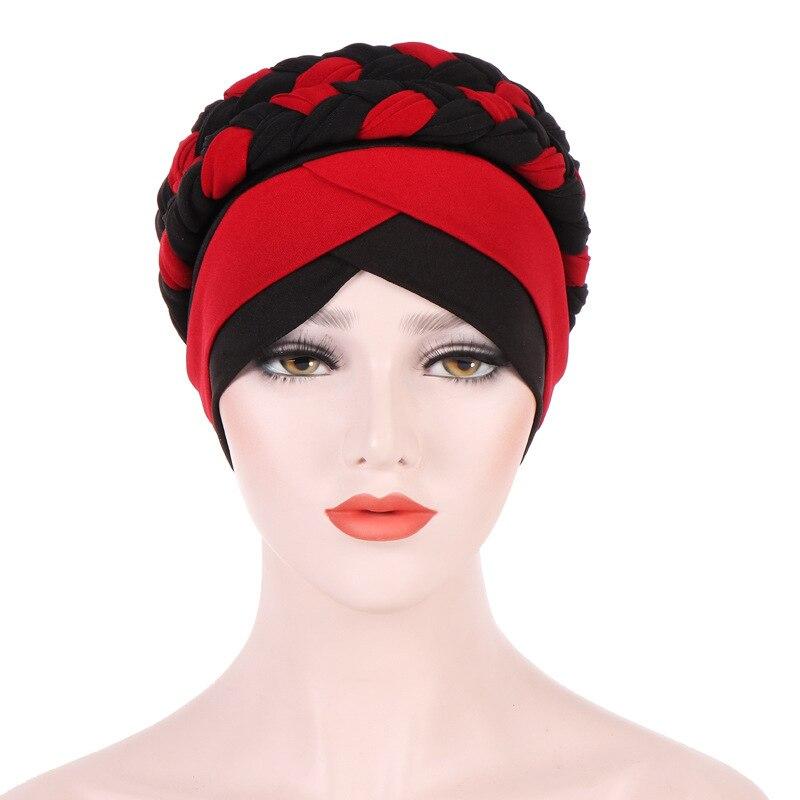 Muslim Women Stretch Silk Cross Red Black Cotton Braid Turban Hat Cancer  Chemo Beanies Headwear Wrap Plated Hair Accessories-in Hair Accessories  from ... 954ace4e54d6