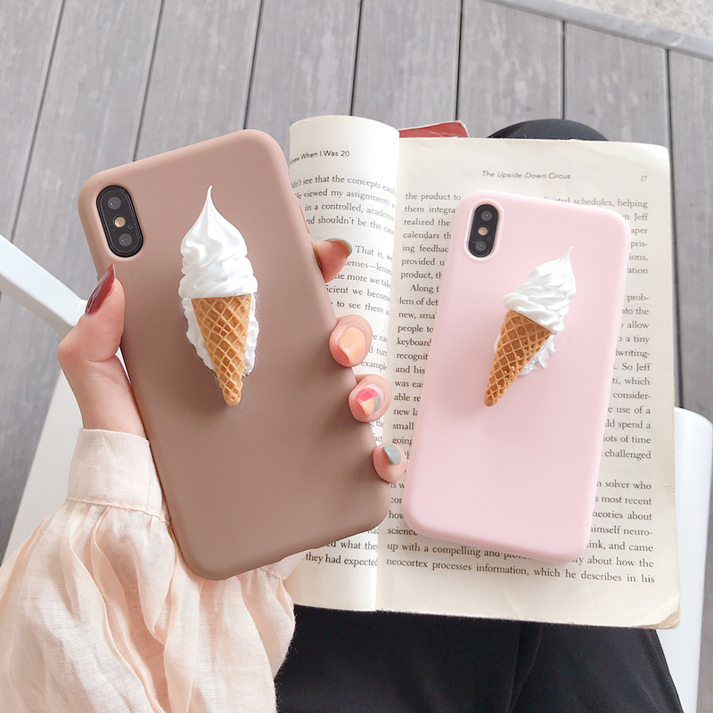 Japan Korea Cute Pretty 3D Ice Cream Pink Silicone Phone Case For Iphone X XS MAX XR 7 8 Plus 6S For Samsung S10 S9 S8 Note