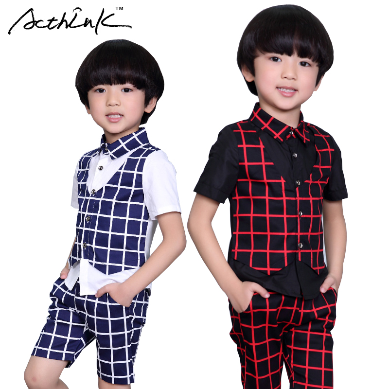 ActhInK 2017 New Boys Summer Formal Plaid Suit Kids 2Pcs Shirt+Shorts Wedding Costume Boys Summer Fashion Performance Suit,AC044