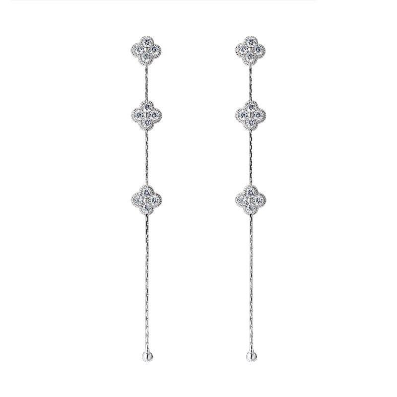 2018 новый темперамент CZ со стразами длинная цепочка кисточкой цветок серьги для Для женщин Мода Свадебная вечеринка серьги подвески с аксессуарами