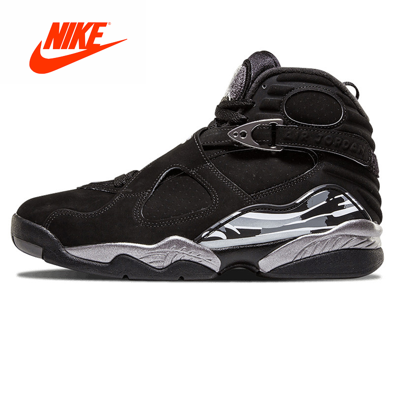 5f65eadf0d8d Original New Arrival Authentic NIKE Air Jordan 8 Joe 8AJ8 Black and Silver  Triple Engraved Men s Basketball Shoes Sneakers