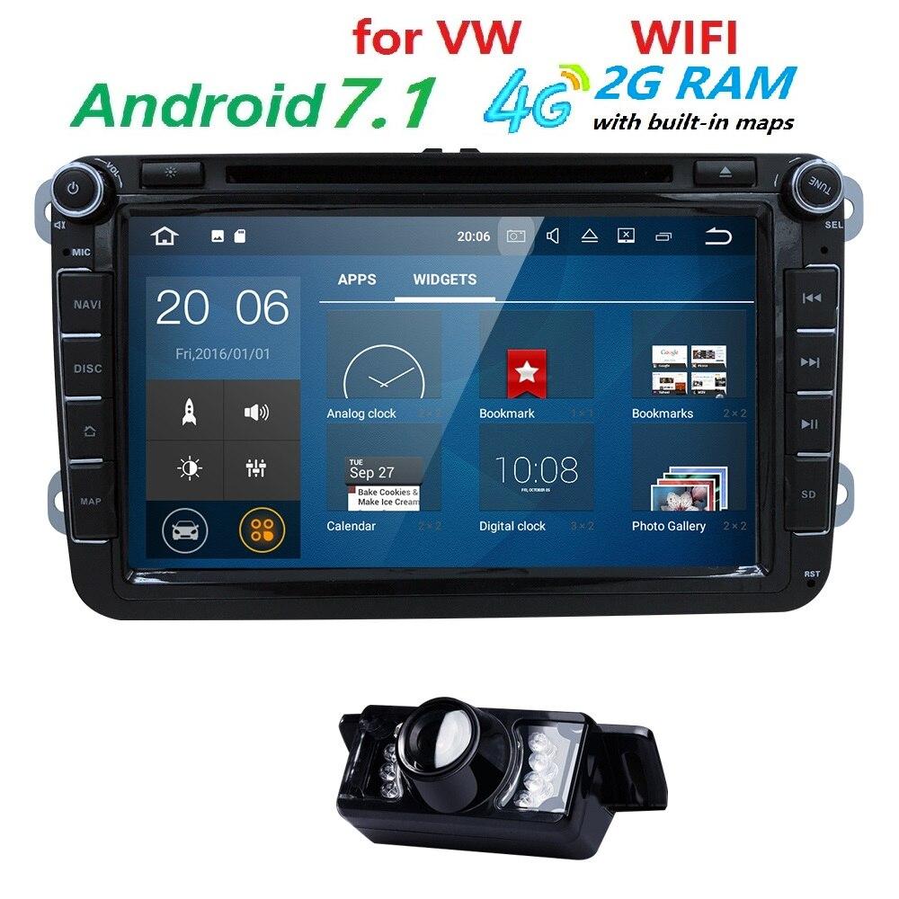AutoRadio 2din GPS Android 7.1 Car DVD Player for skoda octavia 2 fabia VW passat b6 T5 cc Jetta Amarok Golf 5 6 caddyTiguanPolo