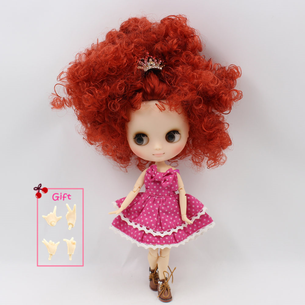 Nude Factory Middle Blyth doll Series No QE150 Orange Red curly hair Matte face suitable for