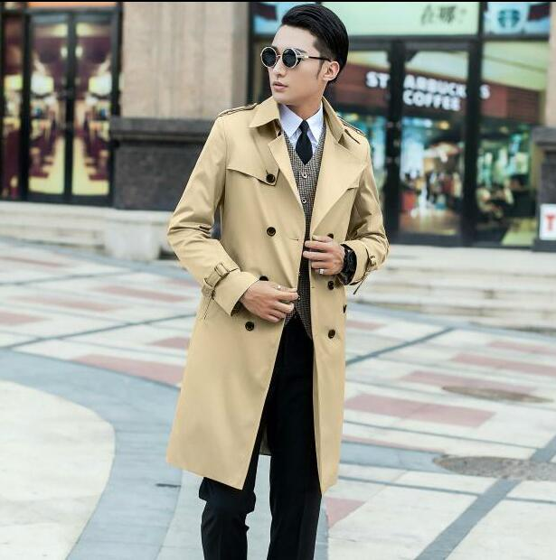 2017 new designer teenage slim sexy long trench coat men mens trench coat classic business outerwear belt plus size S - 9XL