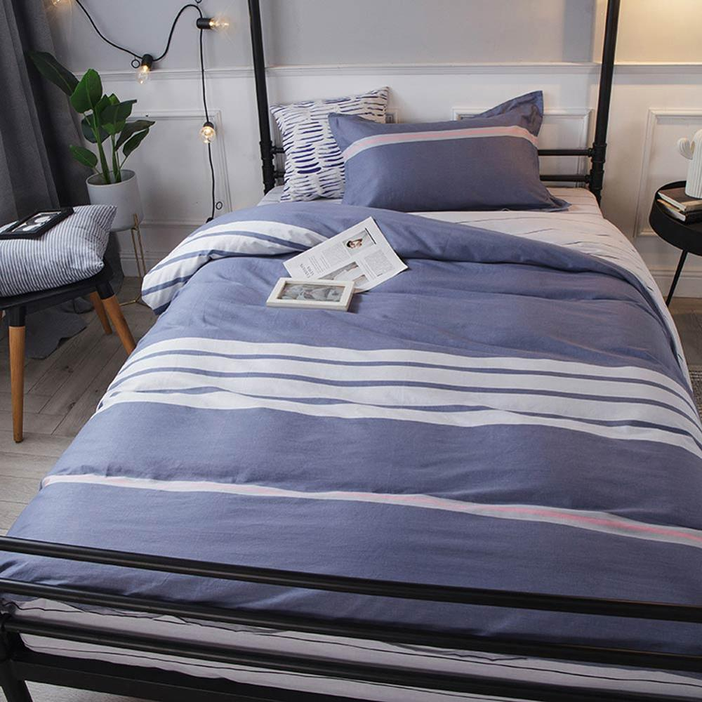 2019 Dark Blue White Stripes Dormitory 3pcs Bedding Set Twin Hypoallergenic Cotton Bedlinens Duvet Cover Set Single Bed