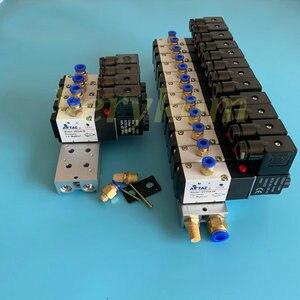 Image 3 - Multi 2 ~ 20 Row 3V210 08 Electromagnetic Solenoid Valve Block With Muffler Fitting Base Manifold DC 12v 24v AC 110v 220v 3 port