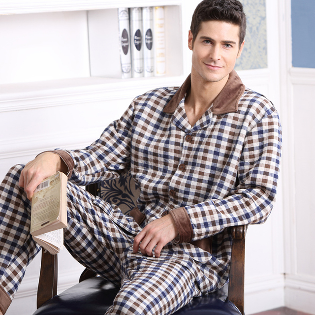 Мужские Пижамы Папку Хлопка Пижамы С Длинными рукавами Плед Кардиган Осенью И Зимой Мужчины Сна Pajama Наборы