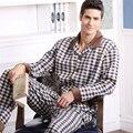 Pasta de Algodão Pijamas dos homens Pijamas mangas Compridas Xadrez Cardigan Outono E Inverno Dos Homens Conjuntos de Pijama Sono