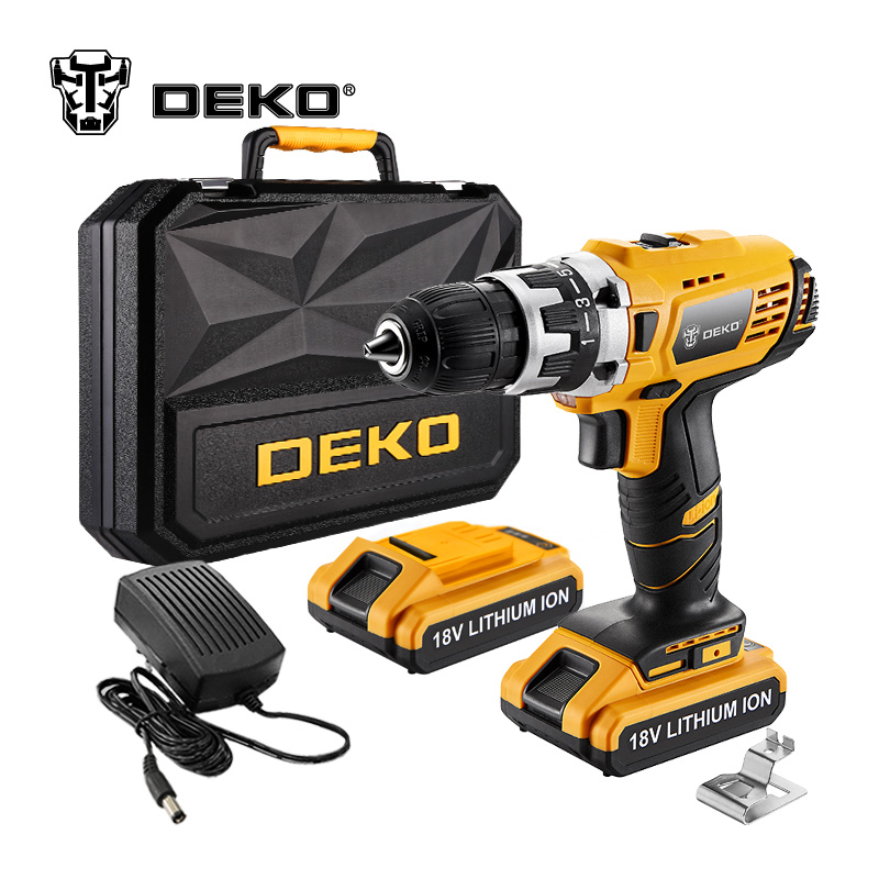 DEKO GCD18DU2 18-Volt DC Lithium-Ion Battery 1/2-Inch 2-Speed Electric Cordless Drill Mini Screwdriver Wireless Power Driver electric bicycle case 36v lithium ion battery box 36v e bike battery case used for 36v 8a 10a 12a li ion battery pack