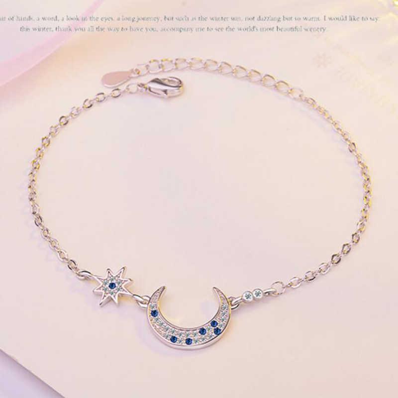 KOFSAC Новая мода 925 браслеты из стерлингового серебра обручальные очаровательные синие CZ Звезда Луна браслеты для женщин женские ювелирные изделия прекрасный подарок