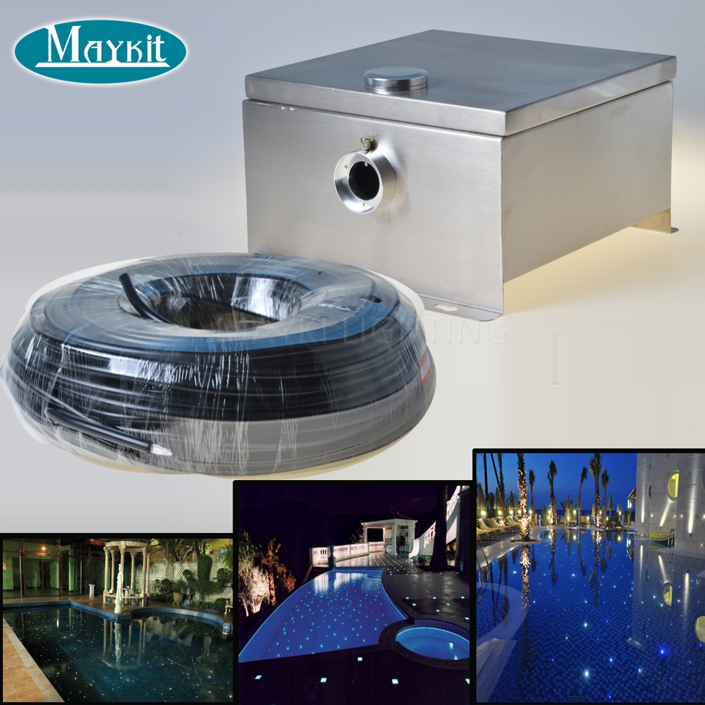 Maykit Fiber Optic Pool Light 80w Dmx For 1.5 Sticker Star With Ip44 Waterproof Led End Emitter Pvc Sheathed Fiber Pool Decor maykit swimming pool using fiber optic light with 80w led ip43 end emitted fibre optic tail for 20 sqm