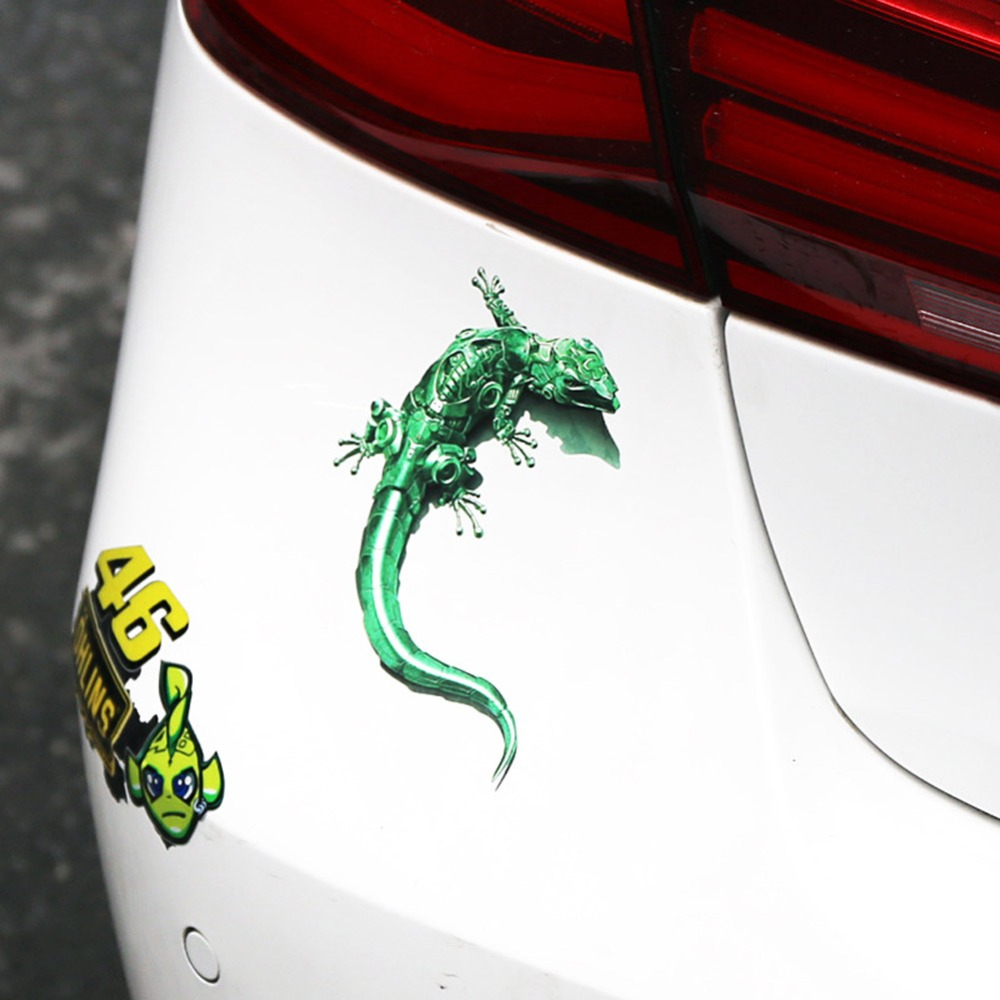 Gecko car 3D stereo sticker metal gecko shape sticker car exterior decoration in Key Case for Car from Automobiles Motorcycles
