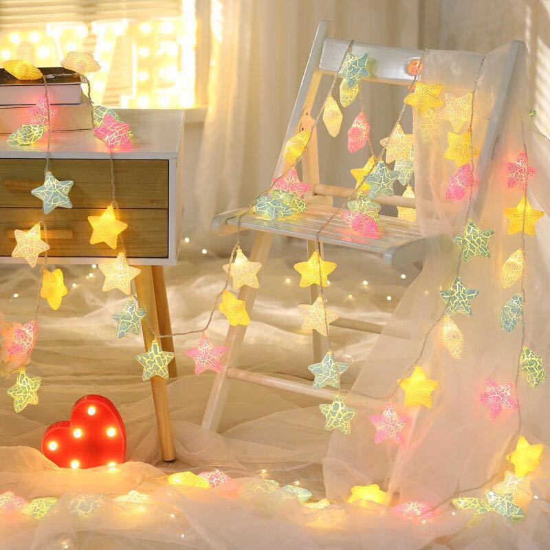 Holiday lights Crack Pentagram Star Strings Christmas Day Room Scandinavian Home Decor Lights Night Lights