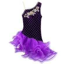 فستان الفتيات اللاتينية السوداء المربوطة المخملية قاعة الرقص اللاتينية ارتداء الاطفال الباردة الكتف Vestido De Baile لاتينو للبيع