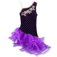 Strapped Black Latin Dress Girls Velvet Ballroom Latin Dance Wear Kids Cold Shoulder Vestido De Baile