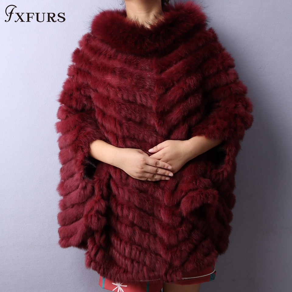 FXFURS 2019 Real Knitted Rabbit Fur Shawl Women Fashion Fur Cape with Raccoon Fur Collars Autumn