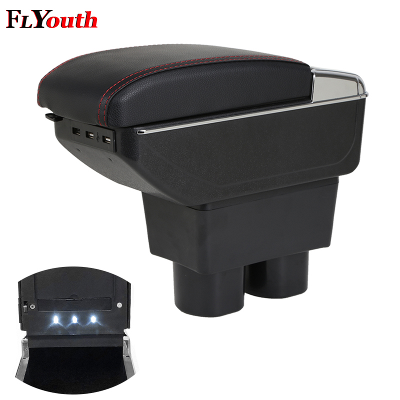 Armrest Box For Nissan Tiida 2005 2014 USB Charging LED Light Car Arm Rest Rotatable Centre