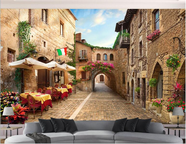 Garden 3d background wallpaper mural mediterranean space extension wall alley city street sea view room 5d mural decoration