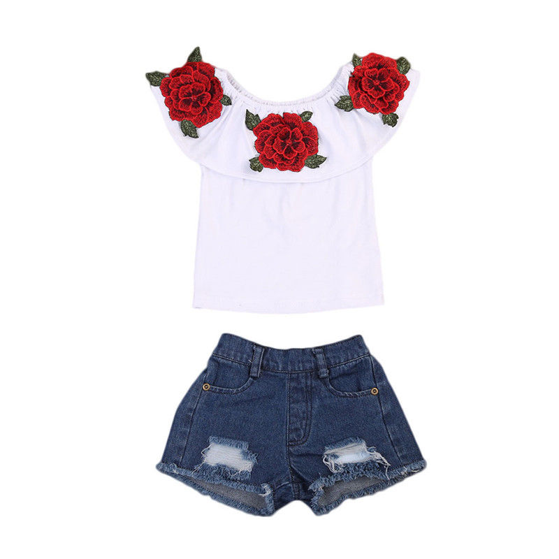 87df20c8152 2017 New Fashion Children Girls Off shoulder Floral T-shirt Tops+Hole Denim  Short