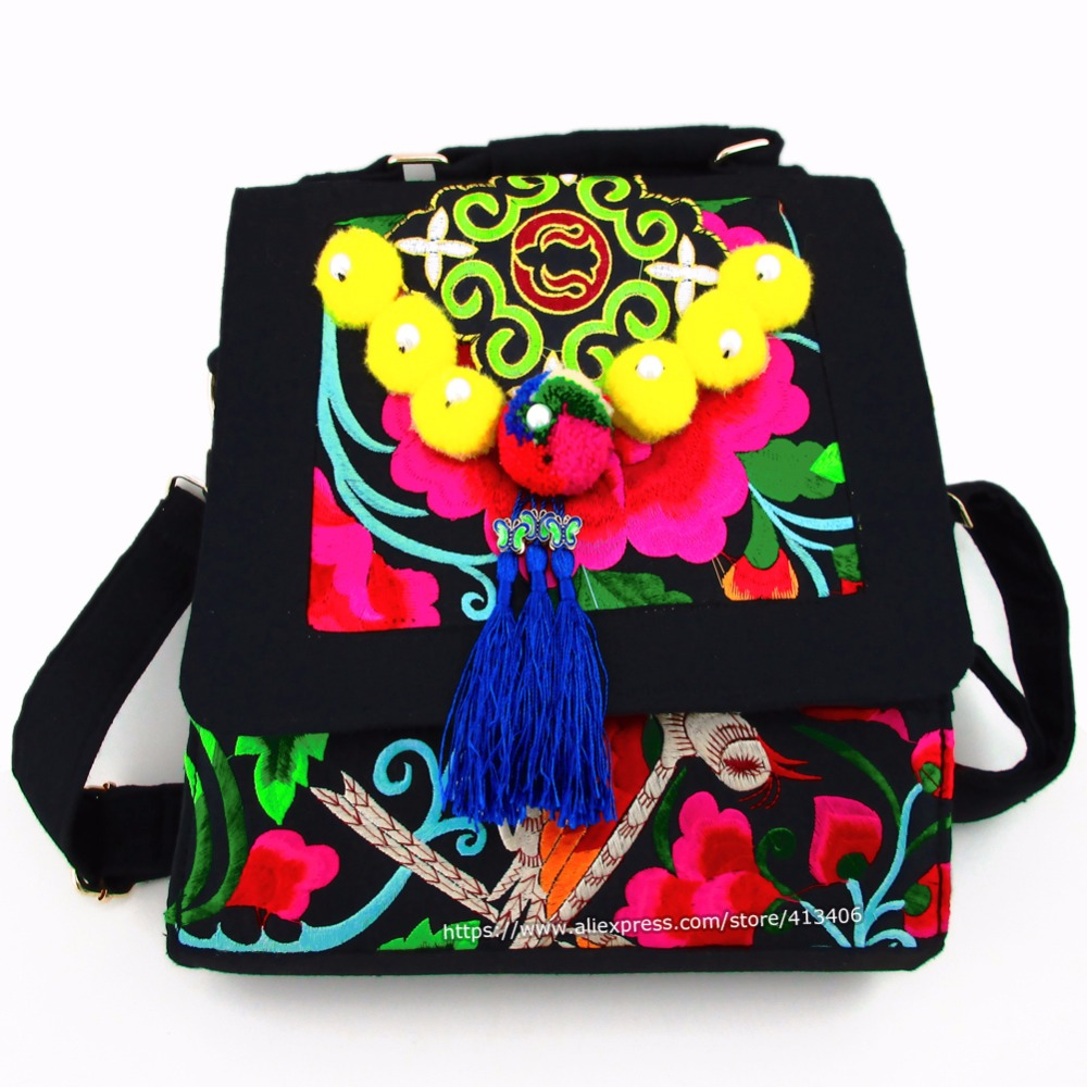 Hmong Tribal Ethnic Thai Indian Boho shoulder bag messenger embroidery pom charm trim SYS-537 striped embroidery pom pom detail blouse