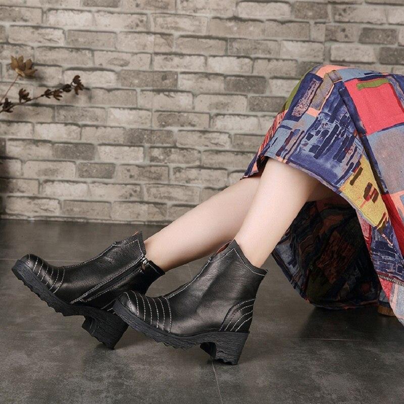 Huizumei Delle Inverno Donne Black Genuino Piattaforma Da Del Della Cuoio Per Le Stivaletti Stivali Stivali Scarpe Caviglia Neve qqBrp