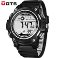 OTS Reloj de moda Casual Al Aire Libre Escalada Natación Deporte Militar Relojes Digitales Hombres Reloj de Cuarzo Dial Grande Impermeable De Goma
