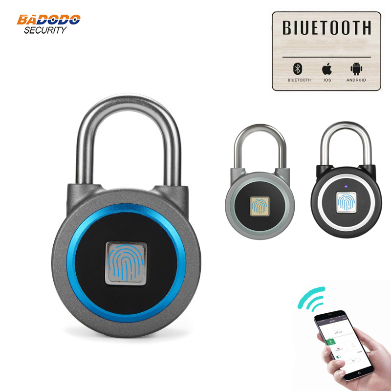 Waterproof Keyless portable Bluetooth smart Fingerprint Lock padlock Anti Theft iOS Android APP control door cabinet padlock-in Electric Lock from Security & Protection