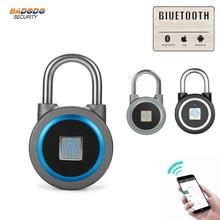 À prova dwaterproof água keyless portátil bluetooth inteligente bloqueio de impressão digital cadeado anti roubo ios android app controle armário da porta cadeado